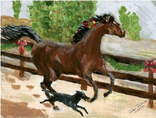 Painting done by Uta Peters of Chloe racing with a dog along a fence.